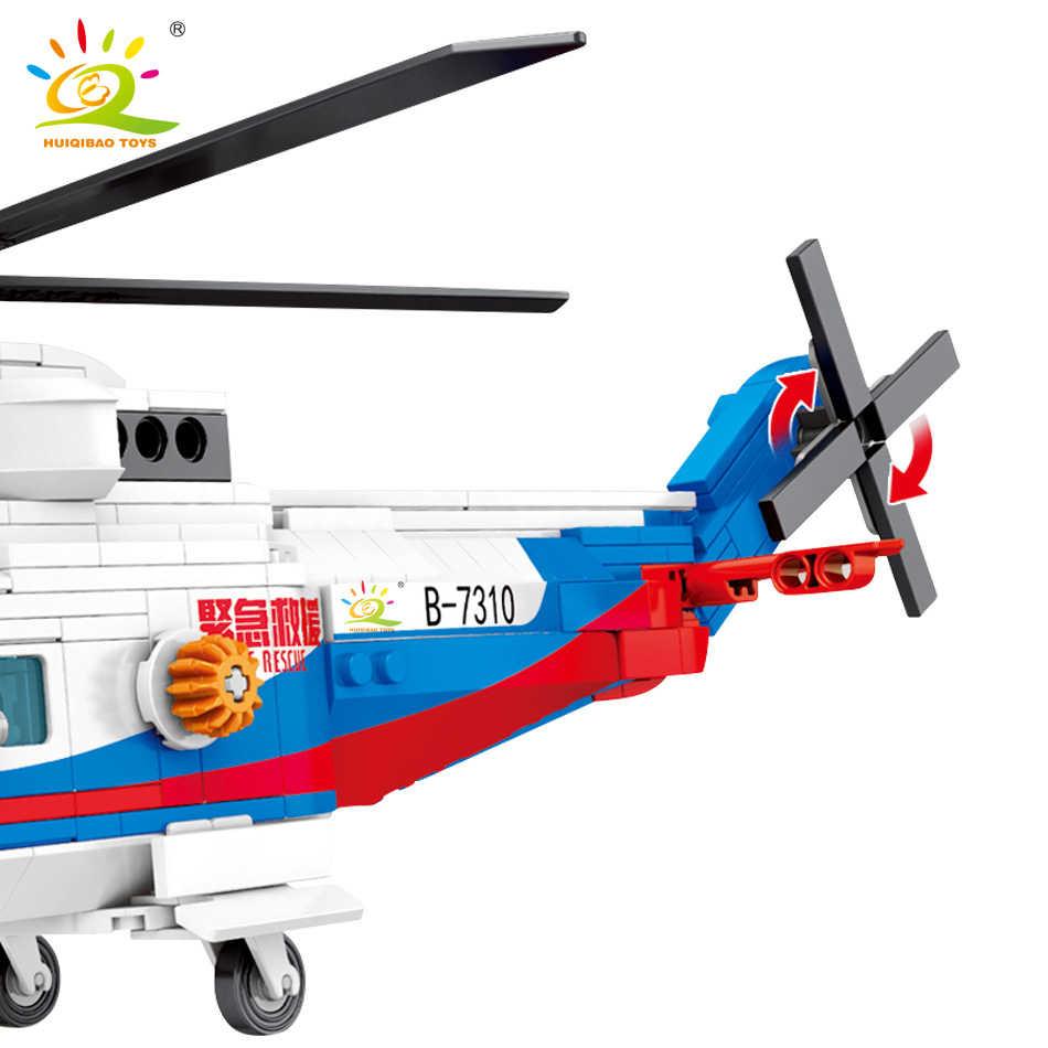 HUIQIBAO 391pcs ים הצלת משטרת מסוק אבני בניין עיר מטוס דמויות לבנים חינוכיים צעצועים לילדים