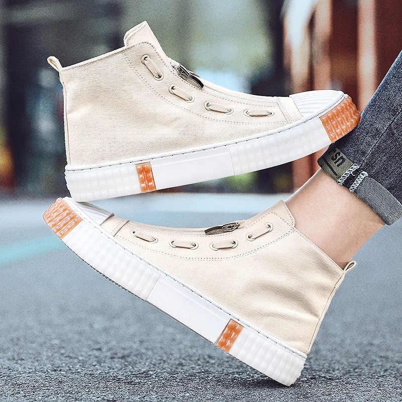 Casual Scarpe di Tela Degli Uomini Stivali All'aperto di Modo di Alta Top Scarpe Da Uomo Casual Scarpe Stivali Alla Caviglia Nero Stivali Zapatos De Hombre calzature