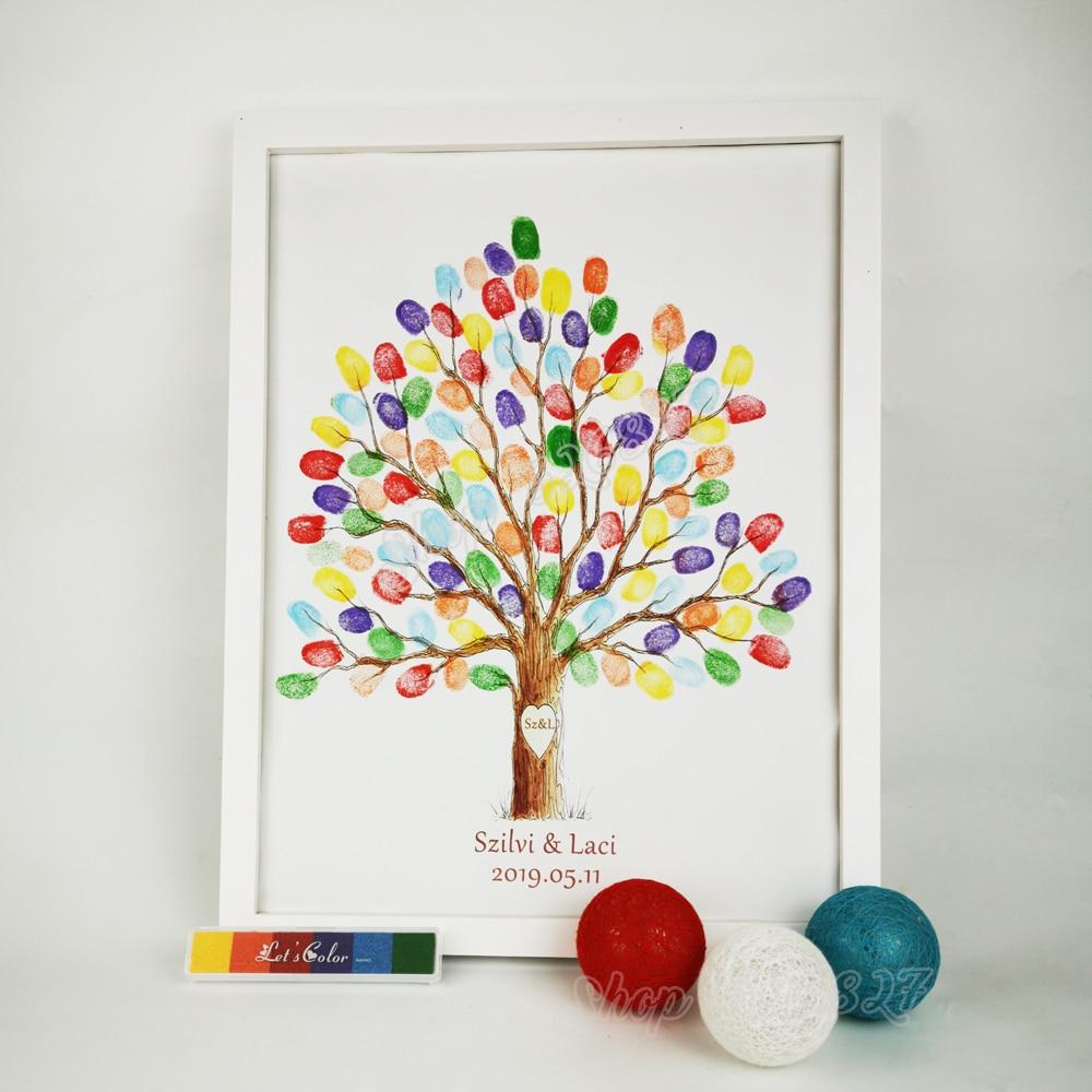 Free Custom Name Date Cartoon Wedding Tree Fingerprint Guestbook DIY Signature Guest Book Party Souvenir With Ink Pad