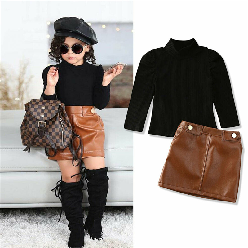 2020 Spring New Arrival Girls Fashion Clothes Set 2 Pieces Suit Sweater Tops+PU Leather Skirt Kids Sets Girls Clothes