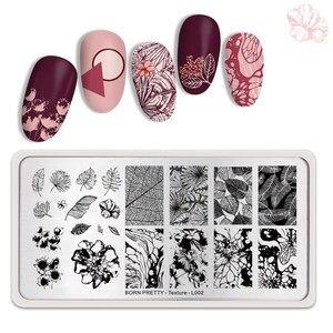 Image 5 - Urodzony dość tekstury paznokci tłoczenia płyty Leopard jesień prostokąt temat paznokci artystyczny obraz wydruku tłoczenia szablon liści wzornik