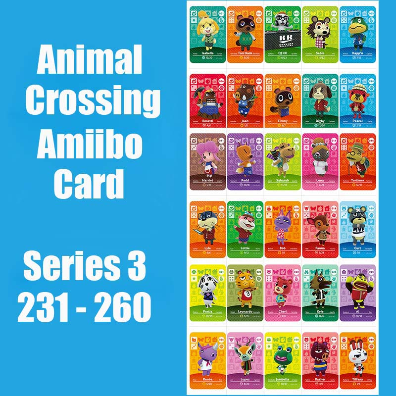 Series 3 (231 To 260) Amiibo Card Animal Crossing Card Work For NS 3DS Switch Game Animal Crossing Amiibo Card Original Function