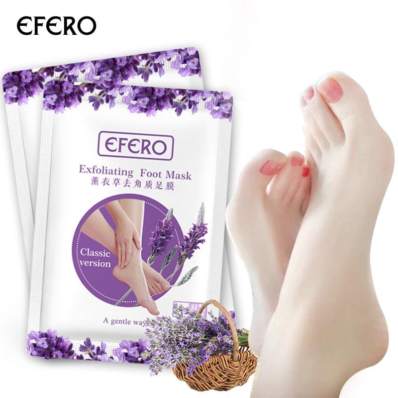EFERO 16pcs/8pair Lavender Exfoliating Foot Mask Smooth Baby Feet Peeling Mask Spa Socks For Pedicure Anti Crack Heel Foot Cream