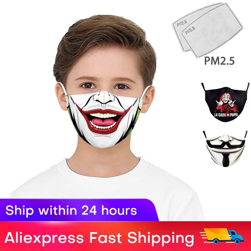 2020 New Fashion Stylish Classic Movie Star Print Mask Kids Personal Protection PM2.5 Masks With 2 Free Filters Reusable Mask