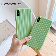 Heyytle Cute Stripe Soft Cases For iPhone 7 8 Plus Suitcase Cover X XS MAX XR 10 Candy Trunk Transparent Coque