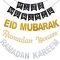Eid Mubarak Dekoration Gold Silber Luftballons Eid Fahne Bunting islamischen Muslim Hajj Mubarak Festival-Party-DIY Ramadan-Dekor
