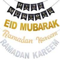Eid Mubarak Decoración Oro Plata Globos Eid Banner Bunting festival del partido de Mubarak Hajj islámico musulmán del Ramadán DIY Decoración