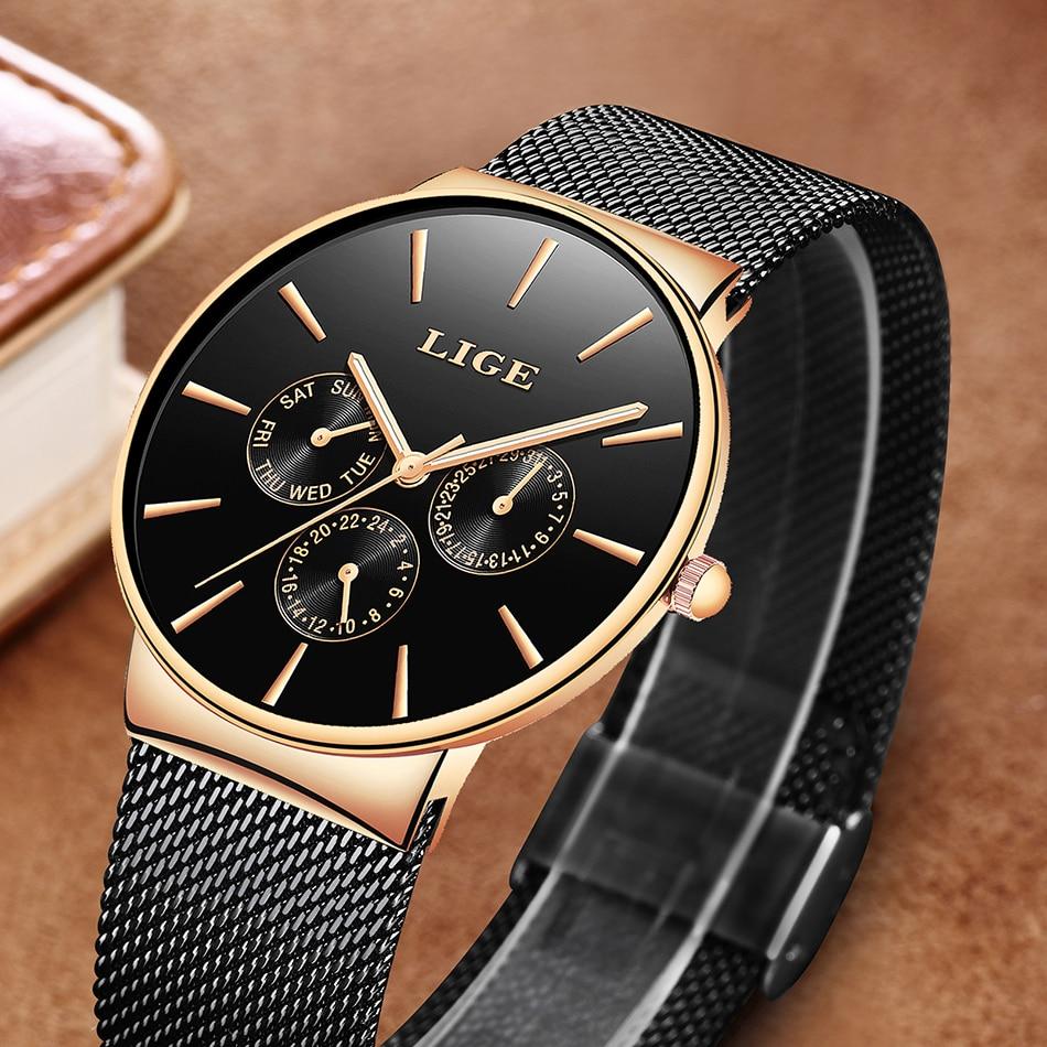 Image 3 - LIGE Women Watches Top Luxury Brand Ladies Fashion Simple Quartz Female Waterproof Watch Lady Casual Clock Relogio Feminino+BoxWomens Watches   -