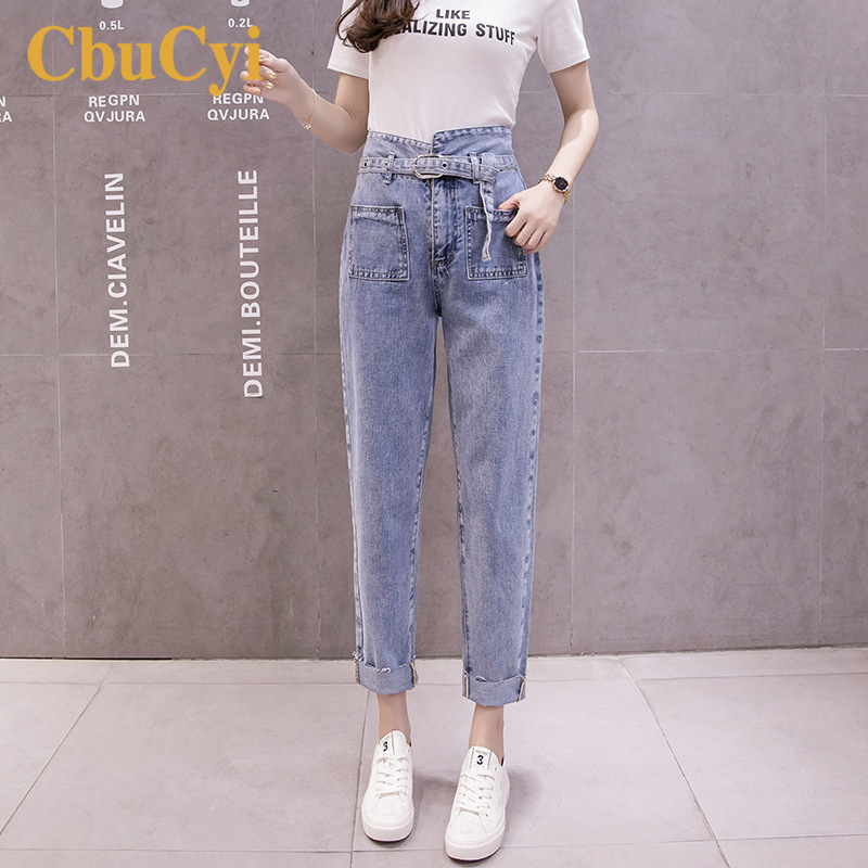 Women High Waist   Jeans   Blue Cuffed 2019 Spring Cotton Denim Pants Women Loose Straight Pants Vintage Straps Long   Jeans   Trousers