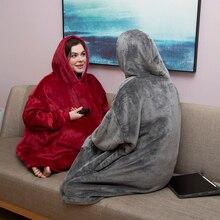 Büyük boy Hoodie boy kış polar battaniye kollu tişörtü ekose yetişkin dev Bluza kadın Damska Sudadera Mujer