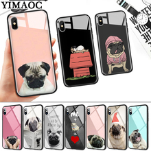 Animal Cute Pug Dog Glass Phone Case for Apple iPhone 11 Pro XR X XS Max 6 6S 7 8 Plus 5 5S SE