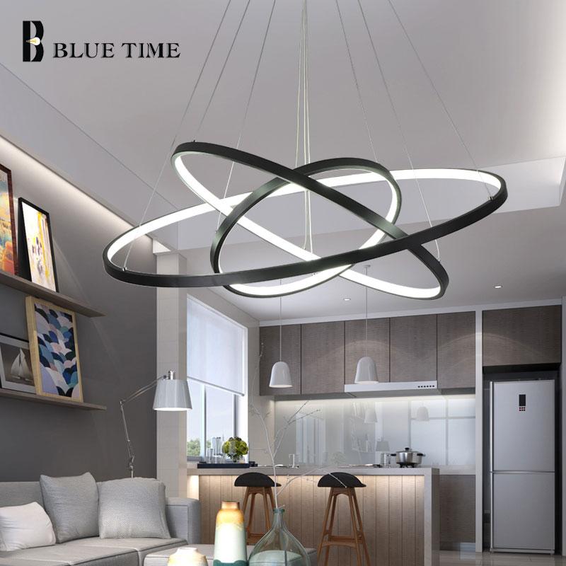 Modern Pendant Lights For Living Room Dining Room 40 60 80 Circle Rings Acrylic Aluminum Body LED Lighting Ceiling Lamp Fixtures in Pendant Lights from Lights Lighting