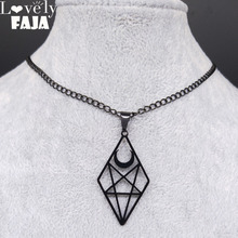 Lovely FAJA Stan Inverted Pentagram Moon Stainless Steel Necklaces Women Black Color Gothic Necklace Jewelry bisuteria N4122S03