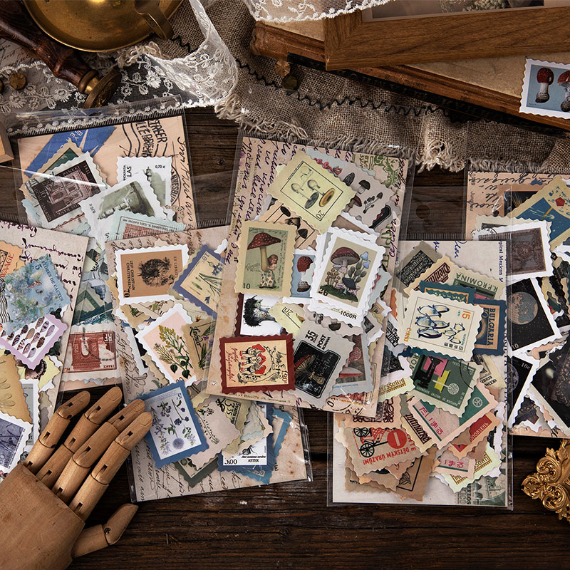 Philatelic Museum Series Journal Decorative Stickers Scrapbooking Stick Label Diary Album Stationery Retro Stamp Plant Sticker