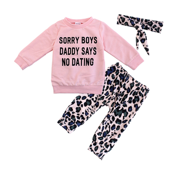 Newborn Baby Girl Clothes Set Fashion Leopard Pants Pink Letter Print Tops Headband 3Pcs AutumnToddler Infant Clothing Outfits