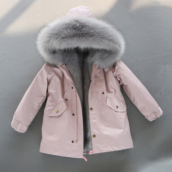 -30 Degrees Coat for Girls Hooded Fur Warm Boys Jackets Children Winter Waterproof Thick Kids Overalls Teenage Snowsuits Clothes 3 6t russia winter keeps warm snow kids girls clothes big fur hats down romper girls catsuit outdoor overalls for boy kids