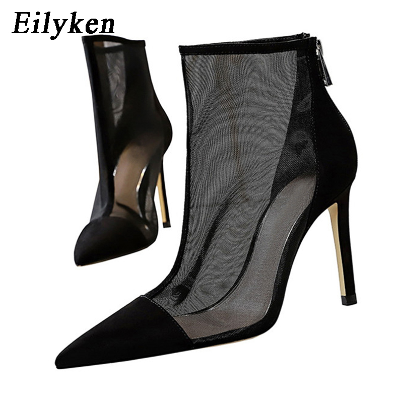 Eilyken Spring Autumn New Sexy Mesh Ankle Boots Women Pointed Toe Stiletto Heels Fashion Zip Ladies Party Shoes Size 34 40