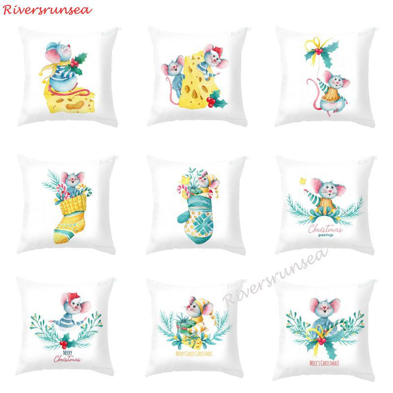 New Cute Christmas Mouse Cushion Funny Hamster Christmas Cheese Socks Leaves Pillow For Merry Christmas Greetings Kids Gift