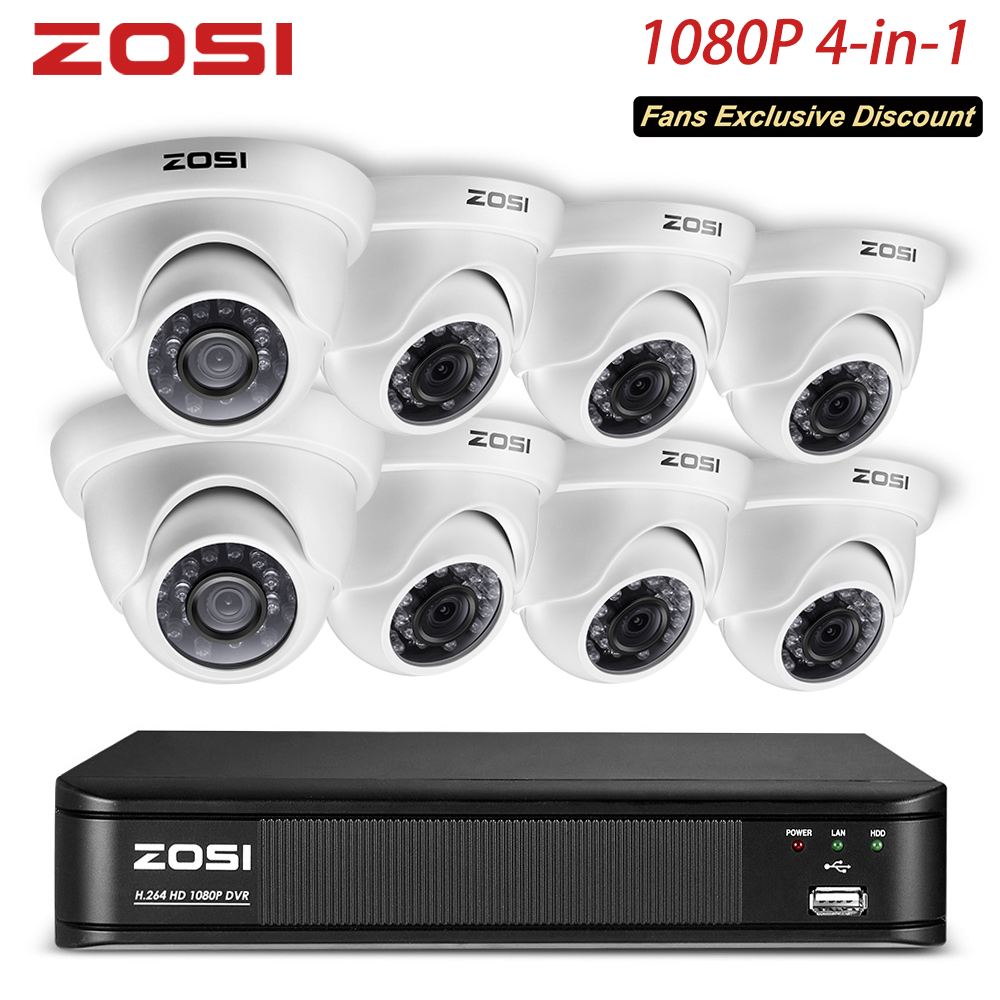 ZOSI 8 Channel 1080P Dome Camera Video Monitor CCTV System Protector Control DVR Kit BNC Cable HDD Outdoor Indoor Room USB Mouse