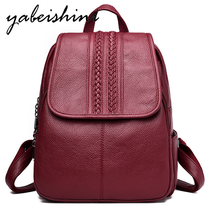 Weaving Women Bag Over Shoulder Women Leather Backpack Sac A Dos School Bag For Teenager Girls Travel Backpack Mochila Feminina