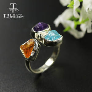Rough-Ring Jewelry Amethyst Citrine TBJ Gemstone Apatite 925-Sterling-Fine Natural Gift