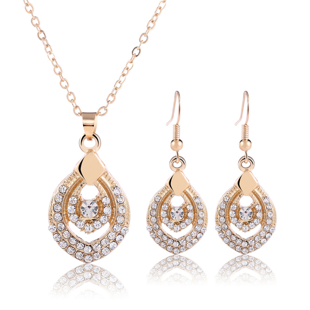 Fashion Jewellery Heart Shape Necklaces & Pendants Heart Shape Stud Earring Full Of Rhinestone Jewelry Sets For Women Brides