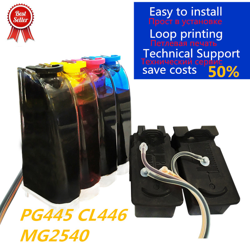 Compatible Continuous ink supply system for <font><b>Canon</b></font> PG 445 CL 446 for <font><b>Canon</b></font> <font><b>PIXMA</b></font> MX494 MG2440 MG2940 MG2540 <font><b>MG2540S</b></font> IP2840 image