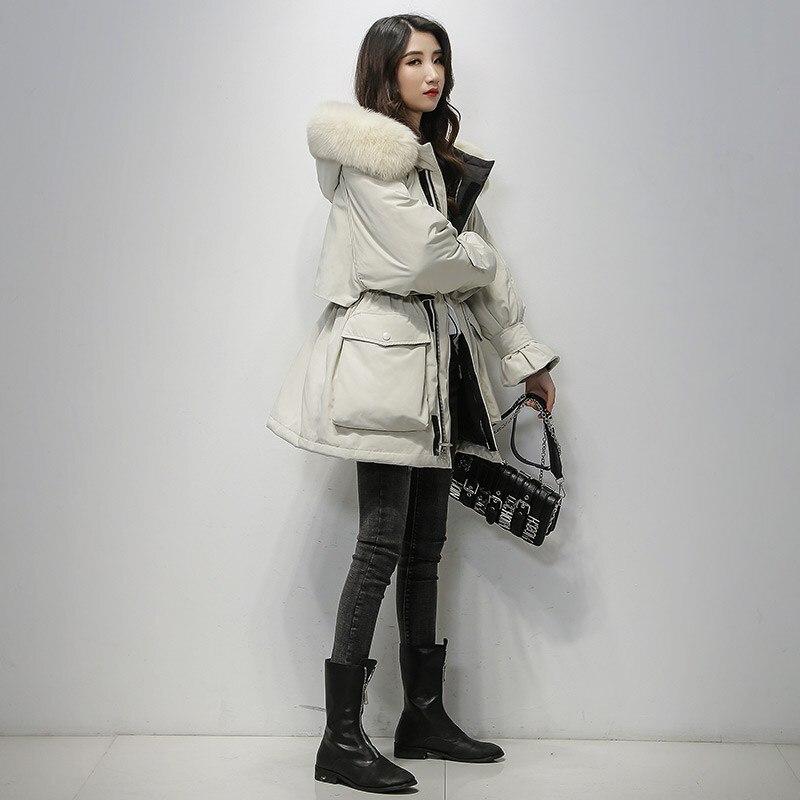 Fitaylor grande fourrure de renard naturel à capuche hiver veste femmes 90% duvet de canard blanc épais Parkas chaud ceinture cravate manteau de neige