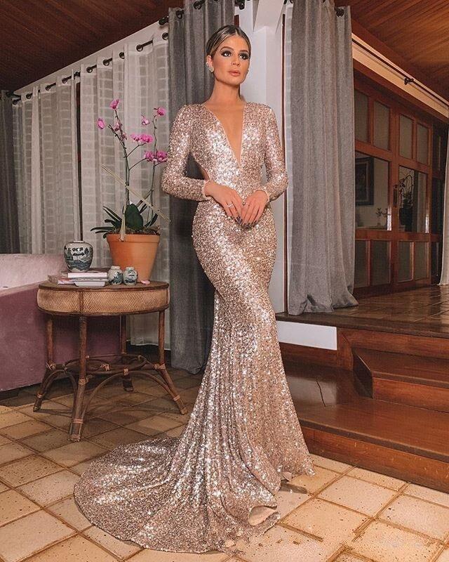 Robes de soirée longue Shinny 2020 nouveau col ouvert femmes élégantes bretelles Sequin sirène Maxi robe de bal robe de soirée abendkleider
