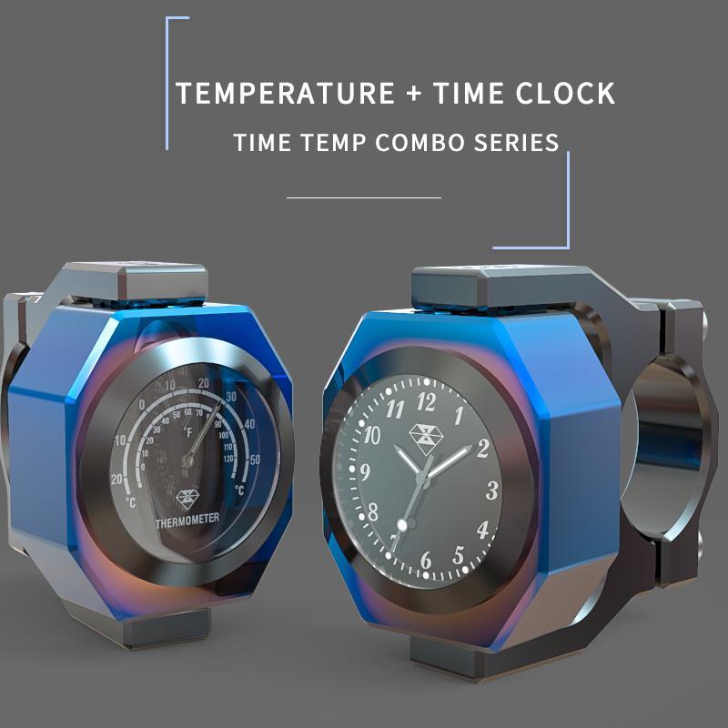 HobbyLane Motorcycle Motocross Waterproof Temperature Luminous Universal Handlebar Mount Clock Motorcycle Watch Thermometer Hot