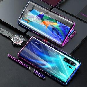 Image 1 - Funda magnética protectora de cuerpo completo para Huawei P30 Pro P20 Mate 20 Pro 360, funda trasera de vidrio templado para Huawei P30Pro
