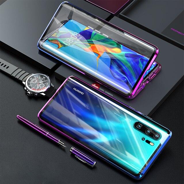 Funda magnética protectora de cuerpo completo para Huawei P30 Pro P20 Mate 20 Pro 360, funda trasera de vidrio templado para Huawei P30Pro