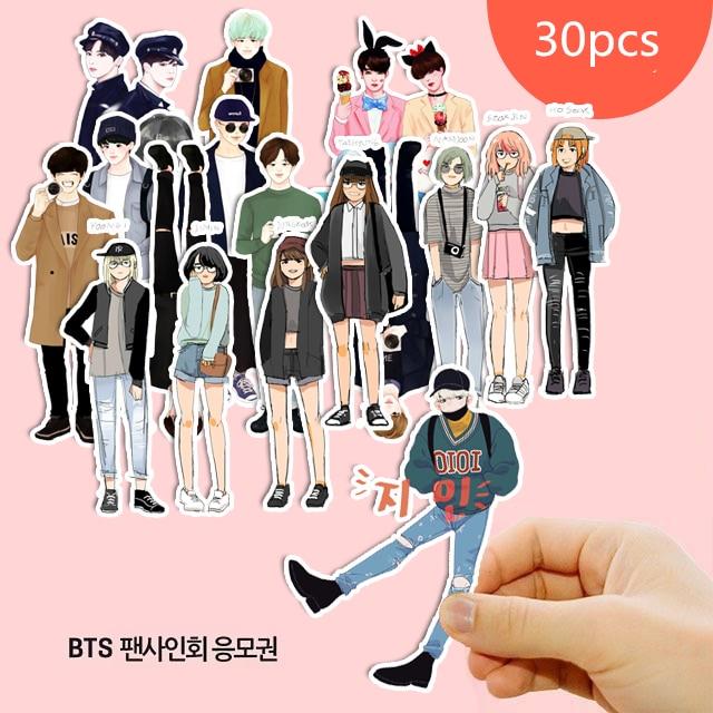 30PCS Korean Cartoon Idol BTS Paper Stickers Crafts And Scrapbooking Stickers Book Decorative Sticker DIY Stationery
