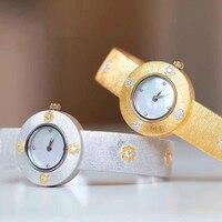 Cmajor prata esterlina 925 banhado a ouro relógio italiano do vintage cz pulseira manguito relógio para mulher frete grátis melhores presentes