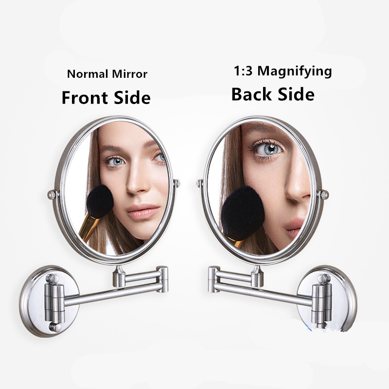 Free-punching Wall-mounted 360° Rotatable 2-face Copper Bathroom Beauty Makeup Mirror Folding Home Back Magnifying Mirror
