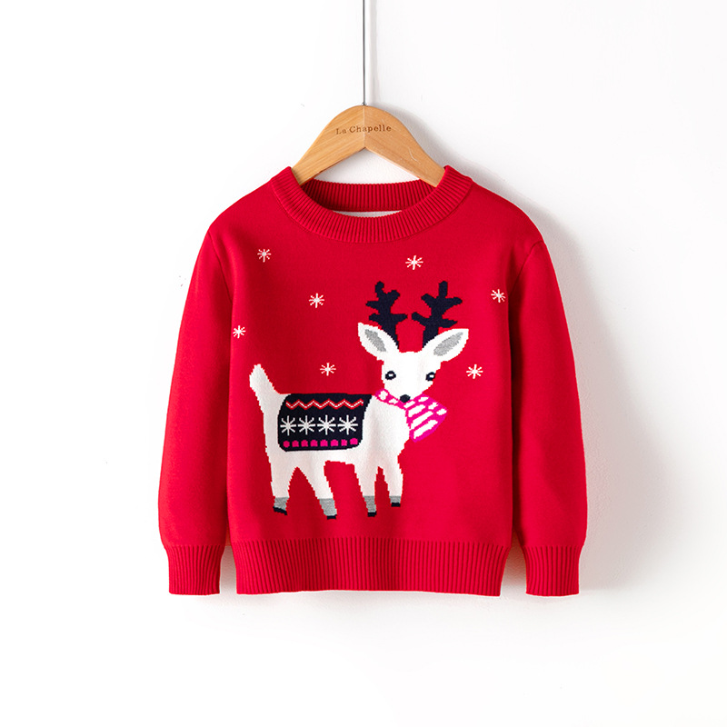 2021 Winter Boys Girls Sweater Christmas Costume Autumn Children Clothing Knitwear Boy Pullover Knitted Sweater Kids Sweaters 5
