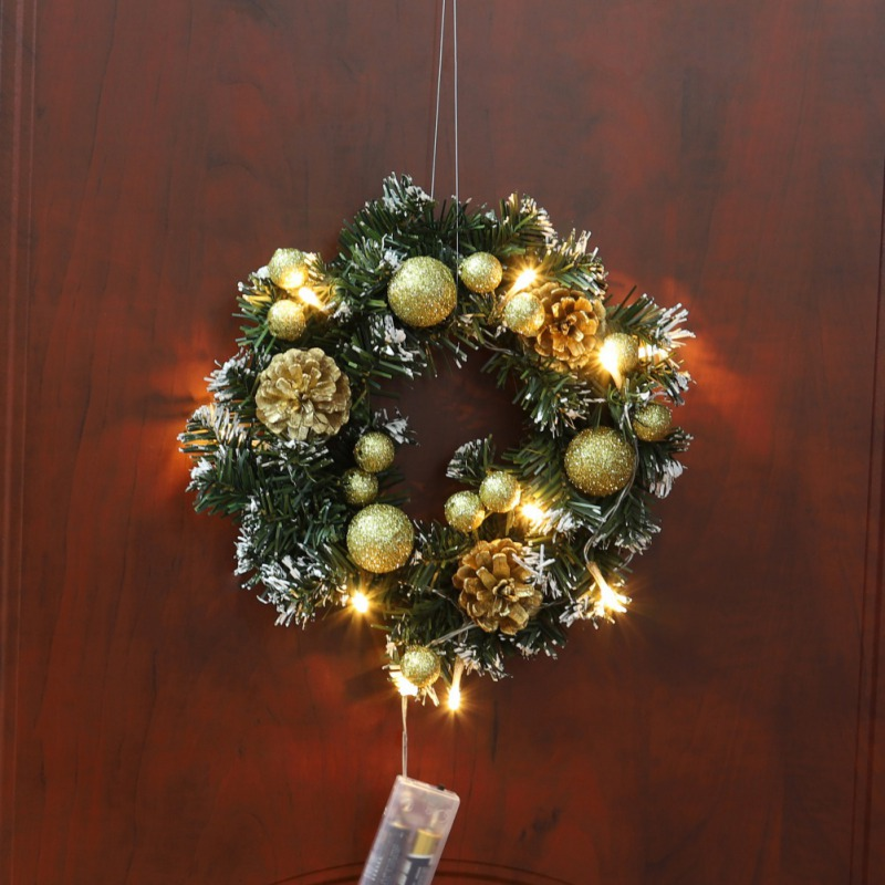 Christmas Xmas Home Decorative Wreath LED Door Hanging Garland Wall Door Garland With String Light Christmas Home Decoration