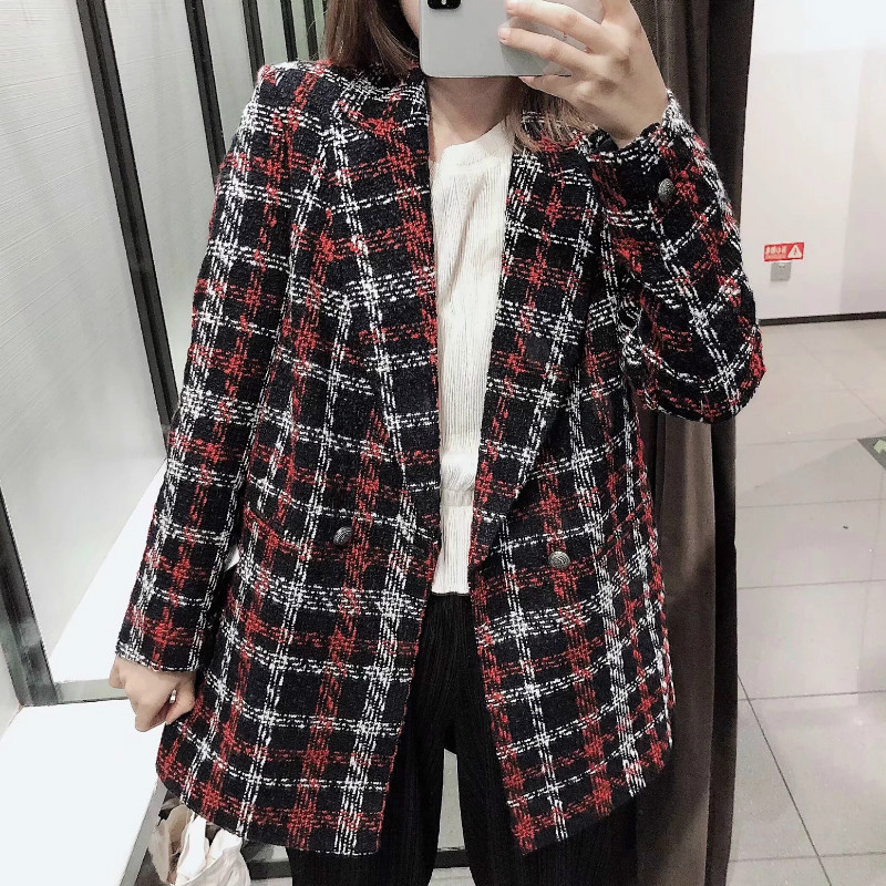 Casual Women's Jacket Suit Temperament Fashion Double-breasted Plaid Mid-length Blazer 2019 Autumn New Suit Female
