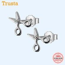 Trusta 100% 925 ayar gümüş kadın moda sevimli küçük makas damızlık küpe hediye okul kızlar için kız hediye DS37