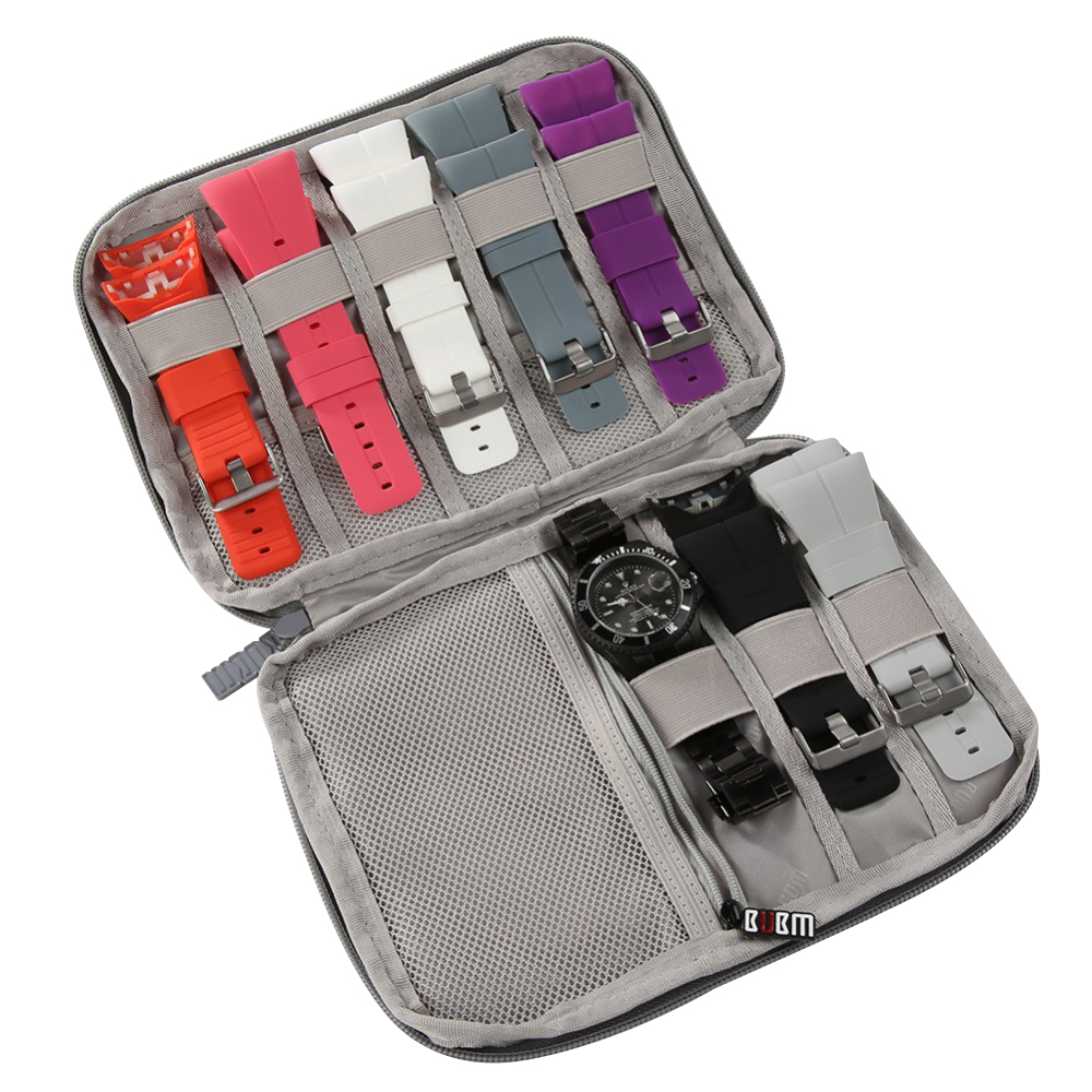 Slot Felt Watch Organizer Box Gray Watch Storage Case Pouch Double Layer Watch Strap Band Organizer Holder Bag
