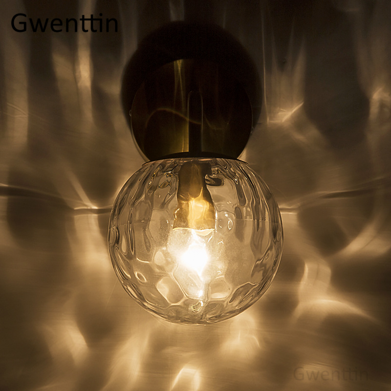 Image 3 - Nordic Gold Glass Wall Lamp for Bathroom Bedroom Stair Light Mirror Lights Home Wall Sconce Lighting Fixtures Industrial Decor-in LED Indoor Wall Lamps from Lights & Lighting