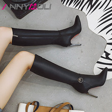 ANNYMOLI Autumn Knee High Boots Women PU Leather Stiletto Heel Long Zipper Super Shoes Female Winter Size 33-43
