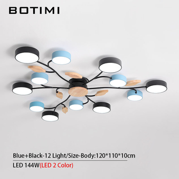 BOTIMI New Arrival Art DECO LED Ceiling Lights For Foyer Modern Gray Metal With Wood Bedroom Lamp Blue Black Rooms Light Fixture 12