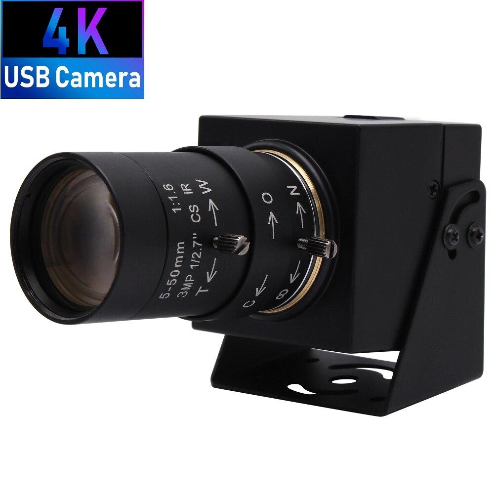 4K 3840x2160 Sony IMX415 MJPEG 30fps CCTV Varifocal Manual Zoom CS Lens Video Cam Webcam USB Camera for PC Computer Latop Vision
