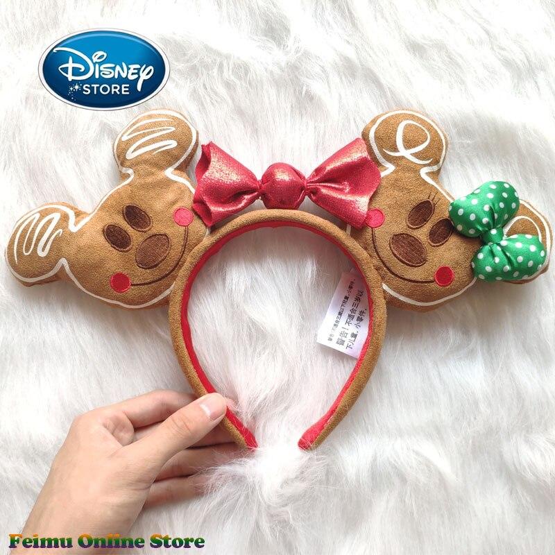 Disney Christmas Mickey Gingerbread Headband 3D Mickey Mouse Ears Disneyland Hair Hoop Hairband Party Headwear Girl Toy Gifts