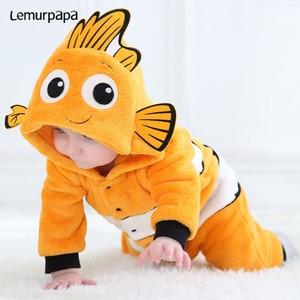 Kawaii Cute Baby Romper Nemo Costume Newborn Toddler Boy Girl Jumpsuit Winter Warm Clothes Anime Fish Kigurumis Onesie Suit(China)