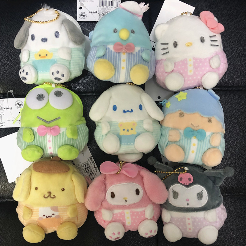 Kuromi Plush Purse Sanrio My Melody Soft Cinnamoroll Rilakkuma Stuffed Toys Bags Pendant Soft Keychain  For Kids Gift