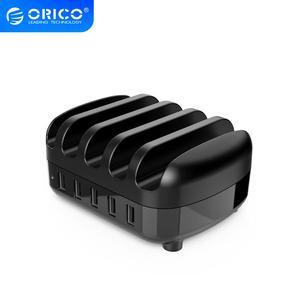 Image 1 - ORICO 5 портов USB Зарядное устройство Док станция с держателем для телефона или планшета 40 Вт 5V2.4A * 5 USB зарядка для iphone pad PC Kindle Tablet