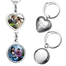 2019 Mirror Polished Photo Locket Charm Keychain Baby Family Lovers Photo Calendar Keyrings Key Chain Rings Holder for Gifts(China)