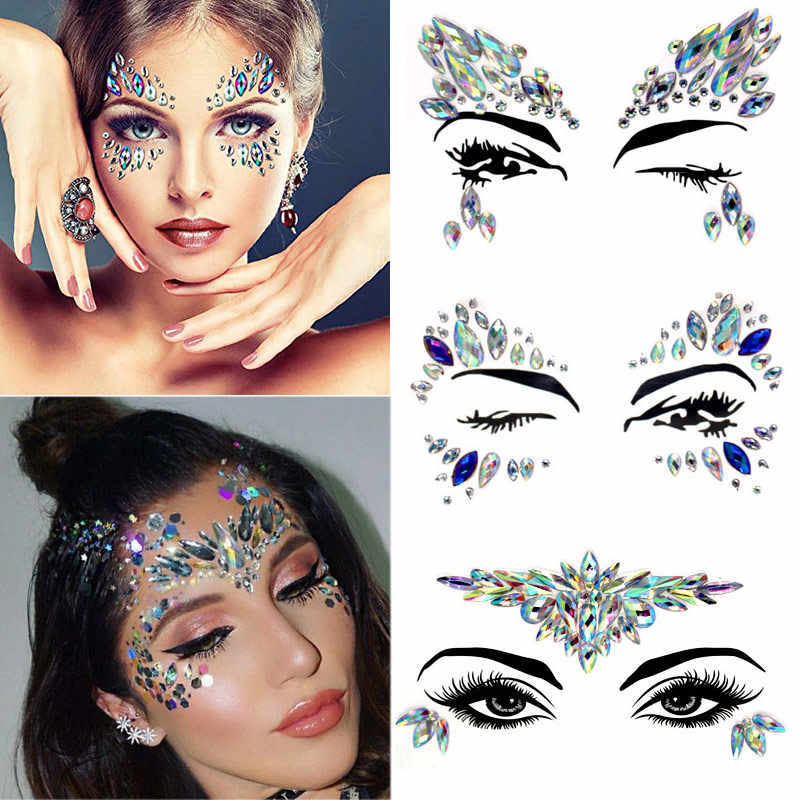 Diy Wenkbrauw Body Art Crystal Glitter Juwelen Kerst Festival Party Eye Mermaid Adhesive Tattoo Stickers Make Xmas Decor